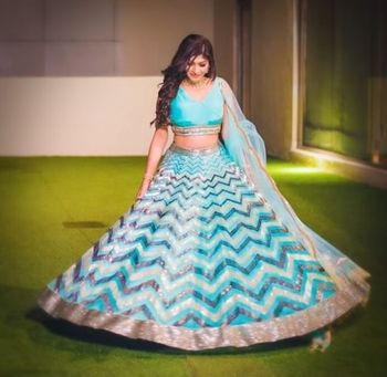 Photo of Light blue chevron print lehenga