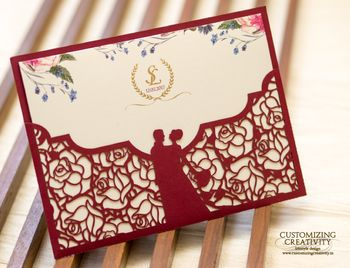 Beautiful laser cut wedding invitation