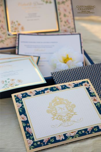 Wedding invites with floral print borders