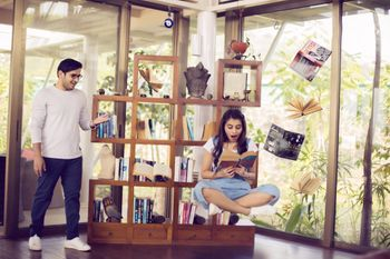 Photo of Levitation pre wedding shoot in library