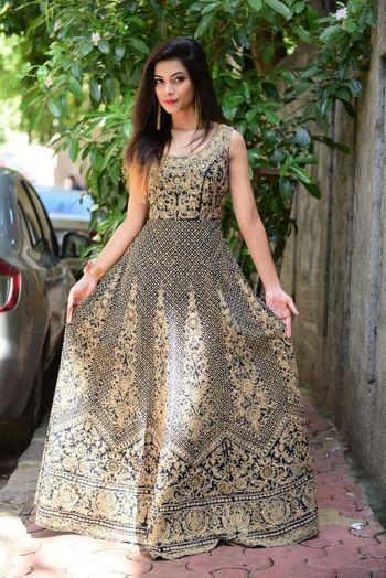navy blue and gold anarkali