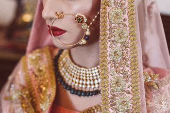 Photo of Bridal Nath with green stones and pearls