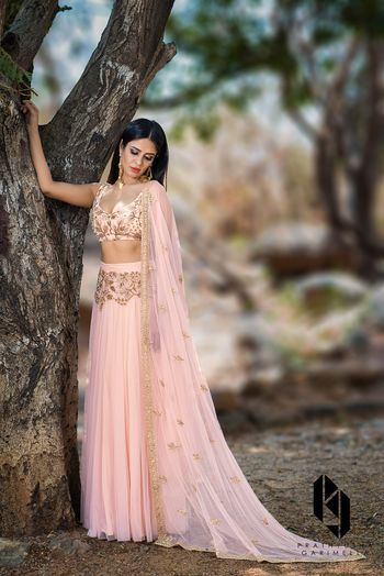 Peach and gold light lehenga
