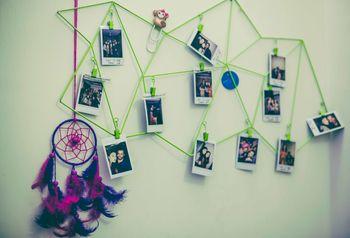 Photo display DIY decor idea with polaroids