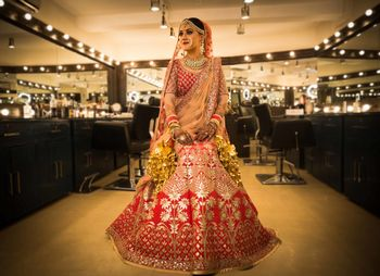 Classic red and gold bridal lehenga