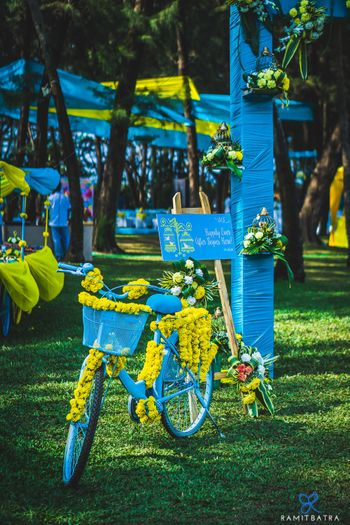 Blue floral bicycle in decor