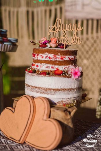 Small wedding cake with Always and forever cake topper