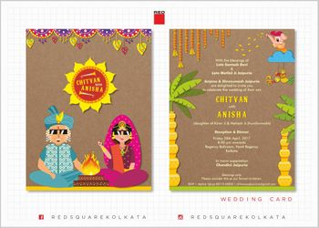 Bright fun and colorful wedding invites