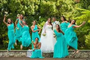 Fun bride and bridesmaids shot