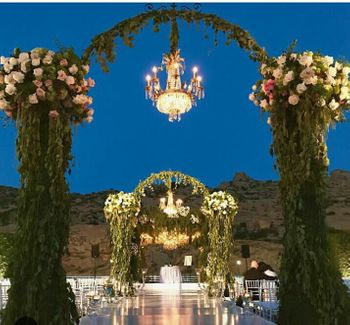 Outdoor floral decor with chandelier