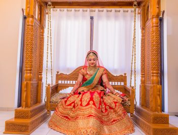 Bride with flared lehenga on swing