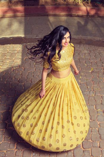 Yellow and gold outfit for mehendi