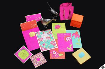 Photo of bright and colourful wedding invites