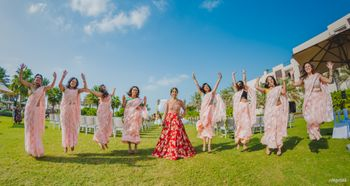 Fun bridesmaids photos with jumping in the air