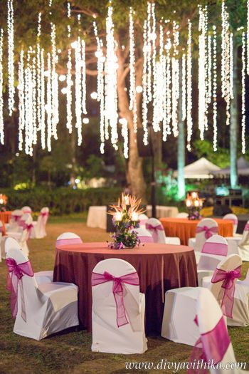 Engagement decor idea with hanging fairy lights
