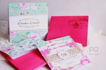 Photo of Floral printed indian wedding cards