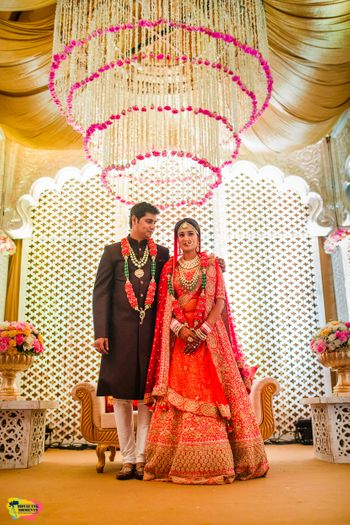 Floral chandelier in wedding decor