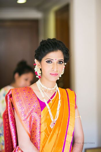 Marathi Bride in Yellow and Purple Saree
