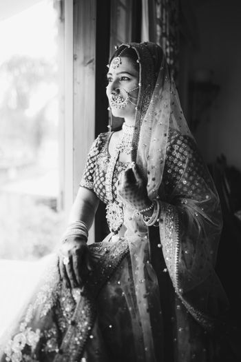 Photo of Black and white bridal shot