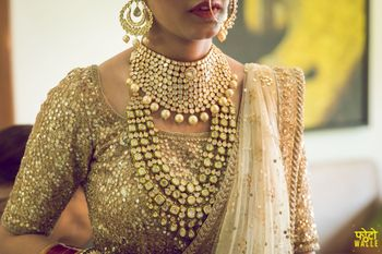 Bridal layered necklace with bib necklace and rani haar