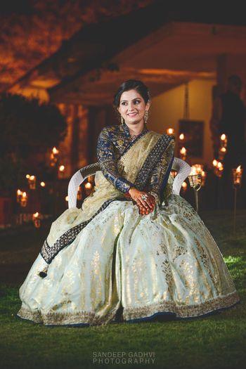 Sangeet lehenga with full sleeved collared blouse