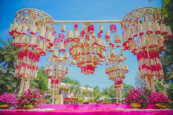Entrance decor idea with floral chandelier