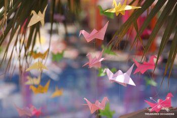 Colorful paper decor elements for mehendi