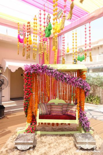 Beautiful floral swing for mehendi
