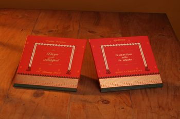 red and gold wedding invite