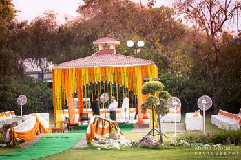 yellow and orange flower decorate mandap