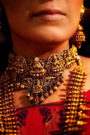 Gold temple jewelry for brides