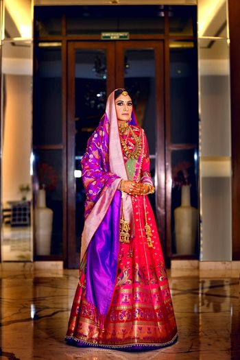 Gorgeous banarasi bridal lehenga in pink and purple