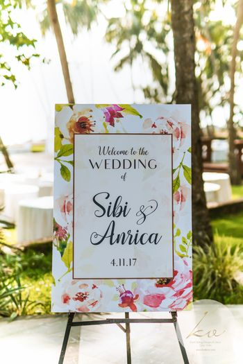 Floral entrance decor welcome sign