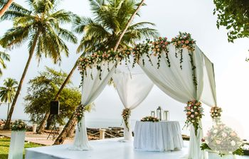 Fairytale destination wedding mandap with drapes