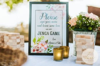 Personalised jenga for guests to sign for the couple
