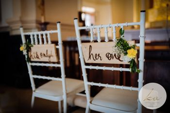 Photo of Bride and groom chair idea with quotes