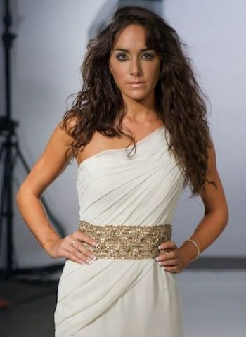 one shoulder draped white gown