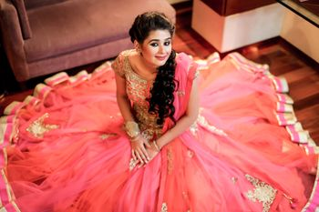 Bride to be with full flared lehenga