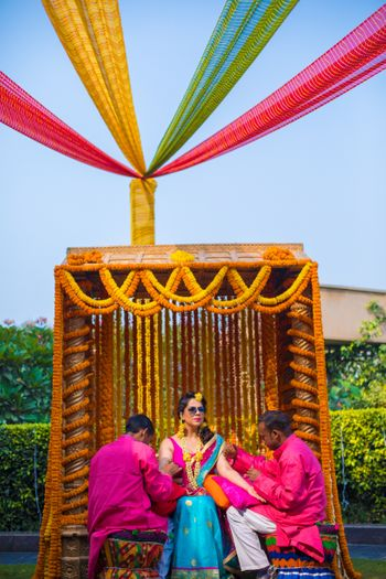 Mehendi swing decor with marigolds