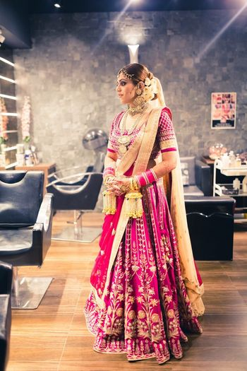 Pretty Pink and gold bridal lehenga