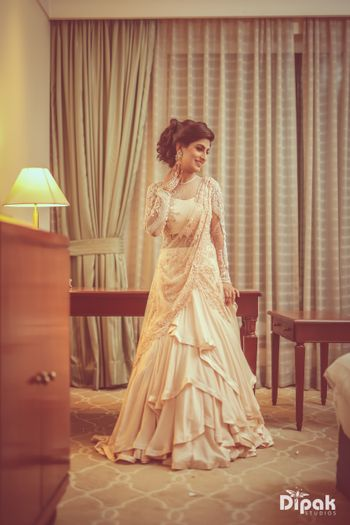 Modern gown lehenga for engagement