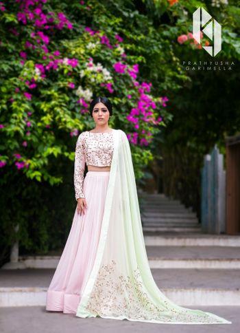 Photo of light pink and light green lehenga