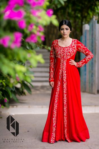 Photo of red and gold middle split anarkali