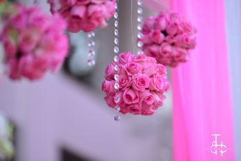 Pink floral balls in decor