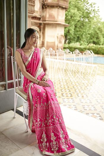 Candy pink engagement saree by Anita dongre