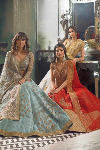 Photo of Tiffany blue and gold lehenga
