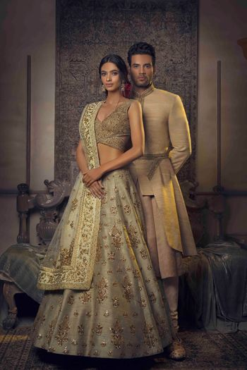 Photo of Gorgeous beige and gold lehenga