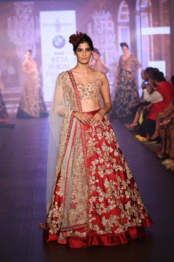 Photo of deep red raw silk lehenga