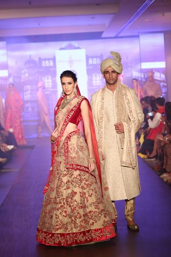 Photo of red and beige bridal lehenga