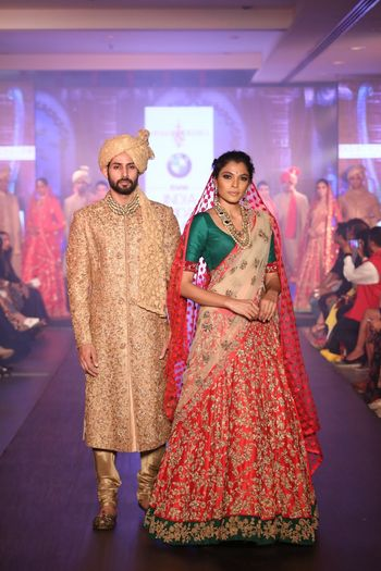 Photo of red lehenga with green border